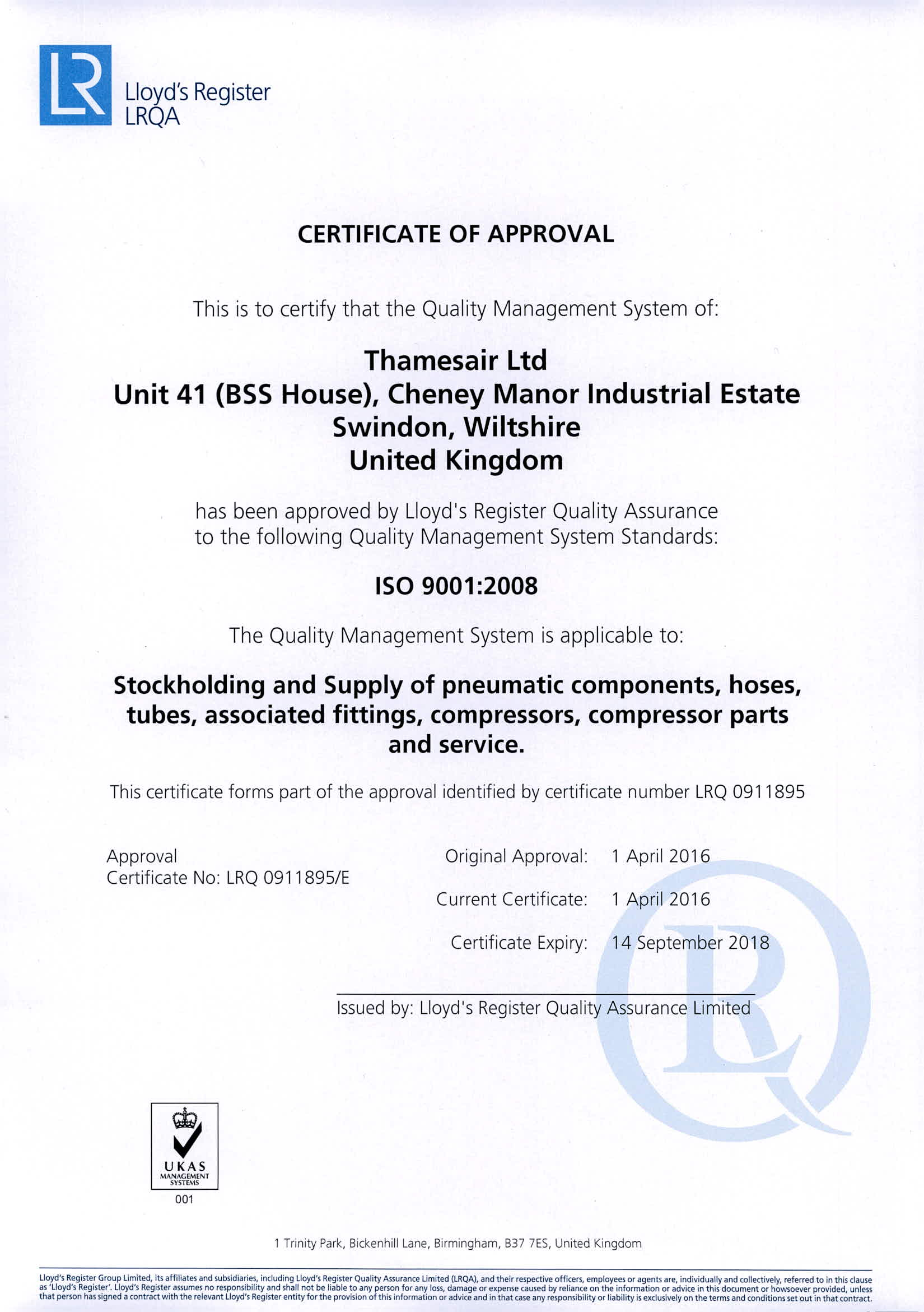 Thamesair ISO 9001:2008 Lloyds Approved